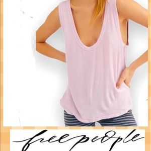 Free People Take the Plunge  V-Neck Jersey Tank L